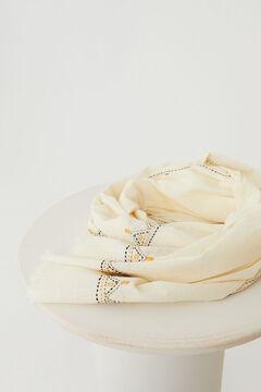Hoss Intropia Bages. Fular liso con bordado artesanal Beige