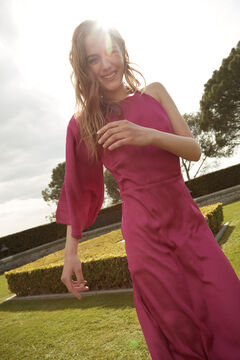 Hoss Intropia Formentor. Vestido largo de fiesta asimétrico Rosa