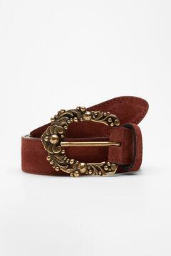 Hoss Intropia Ture. Cinturón de piel hebilla vintage Rojo