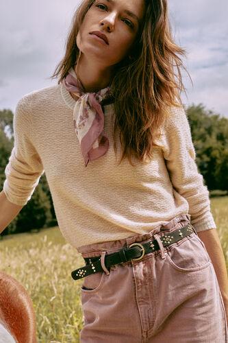 Dombai. Two-tone openwork alpaca wool jumper
