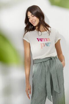 Hoss Intropia Camiseta algodón orgánico mensaje día de la mujer Beige