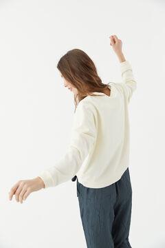 Hoss Intropia Zahara. Sudadera algodón orgánico logo Hoss Marfil