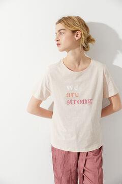 Hoss Intropia Camiseta algodón orgánico mensaje día de la mujer Rosa