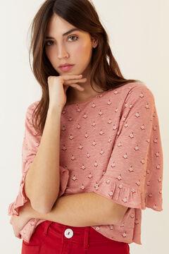 Hoss Intropia Mar. Camiseta lino estampada Rosa