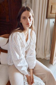 Hoss Intropia Trona. Blusa lurex algodón Blanco