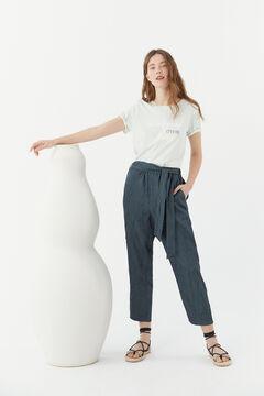 Hoss Intropia Luna. Pantalón fluido textura Azul