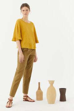 Hoss Intropia Faro. Camiseta lino romántica Amarillo