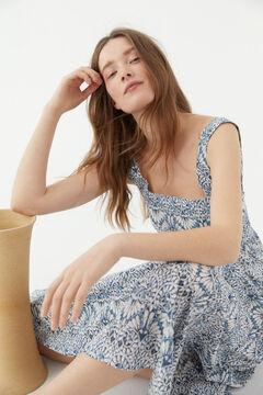 Hoss Intropia Clara. Vestido largo en algodón orgánico estampado Azul