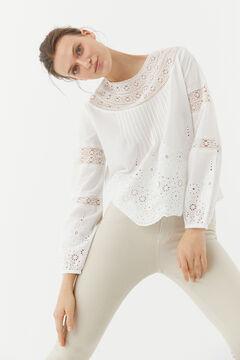 Hoss Intropia Morell. Blusa romántica de algodón Blanco