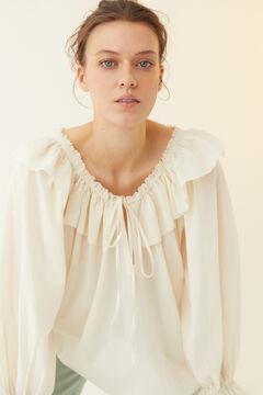 Hoss Intropia Nerja. Blusa algodón volantes Beige