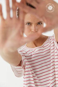 Hoss Intropia Velilla. Camiseta algodón orgánico rayas Beige