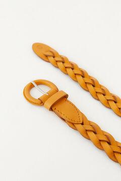Hoss Intropia Marinas. Cinturón de piel trenzado Rojo