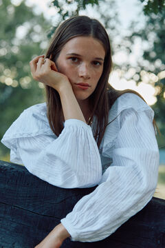Hoss Intropia Linza. Blusa algodón romántica Blanco