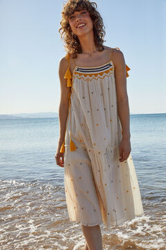 Hoss Intropia Murada. Vestido midi de algodón tirantes Marfil