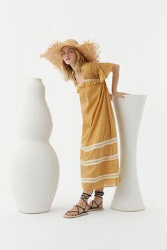 Hoss Intropia Tuent. Vestido largo algodón encajes Amarillo