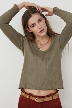 Hoss Intropia Tindaya. Camiseta canalé algodón orgánico romántica Verde