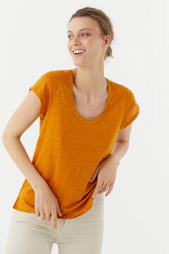 Hoss Intropia Racó. Camiseta lino escote pronunciado Amarillo