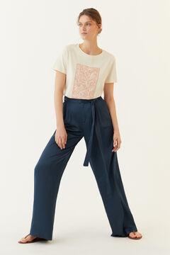 Hoss Intropia Banús. Camiseta de algodón orgánico estampada Marfil