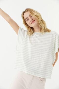 Hoss Intropia Salada. Camiseta algodón orgánico sisa abierta rayas Verde