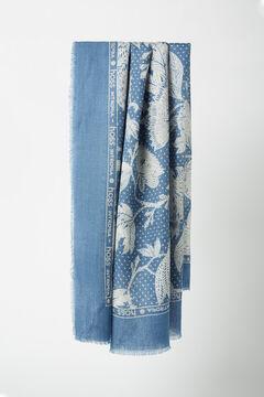 Hoss Intropia Sondrio. Fular estampado de lana Azul
