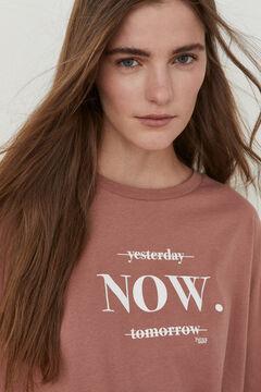 Hoss Intropia Munia. Camiseta algodón orgánico mensaje Rosa
