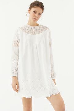 Hoss Intropia Deià. Vestido corto de algodón romántico Blanco