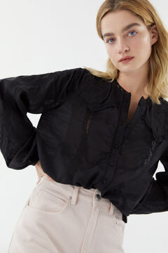 Hoss Intropia Tiana. Camisa romántica con apliques Negro