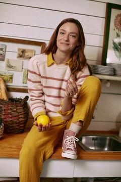 Hoss Intropia Arán. Pantalón algodón cintura elástica Amarillo