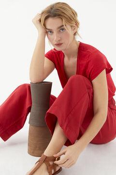 Hoss Intropia Racó. Camiseta lino escote pronunciado Rojo