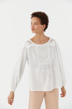 Hoss Intropia Canela. Blusa de algodón con bordado Blanco