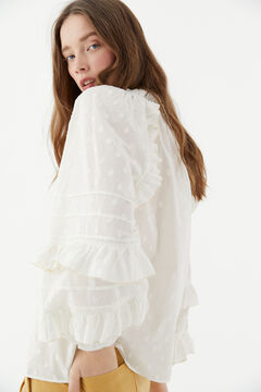Hoss Intropia Blanc. Blusa en plumeti de algodón Blanco