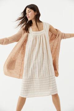 Hoss Intropia Tamariu. Vestido midi de algodón lino rayas Rosa