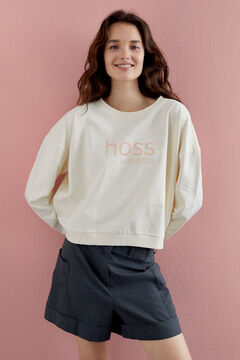 Hoss Intropia Zahara. Sudadera algodón orgánico logo Hoss Blanco