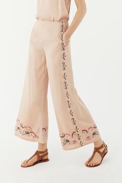 Hoss Intropia Puglia. Pantalón ancho fluido bordado Rosa