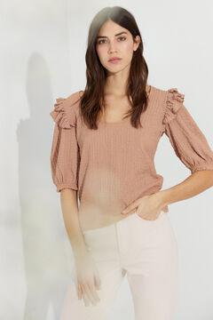 Hoss Intropia Roda. Camiseta textura y volantes Rosa