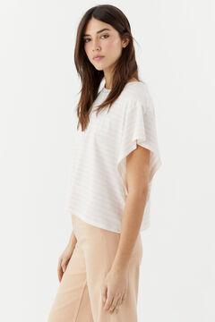 Hoss Intropia Salada. Camiseta algodón orgánico sisa abierta rayas Marfil