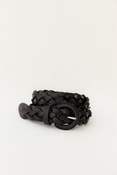 Hoss Intropia Marinas. Cinturón de piel trenzado Negro