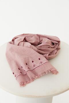 Hoss Intropia Bages. Fular liso con bordado artesanal Rosa