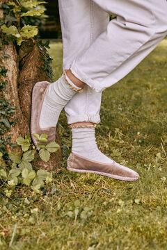 Hoss Intropia Riva. Zapatos planos terciopelo Rosa