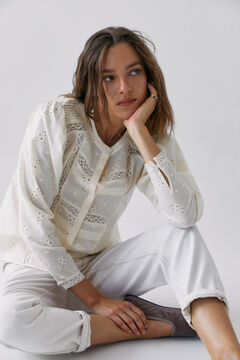 Hoss Intropia Estartit. Camisa algodón romántica Beige