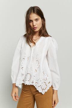 Hoss Intropia Valira. Blusa algodón romántica Blanco