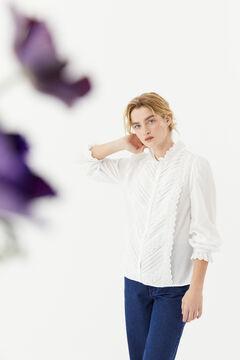 Hoss Intropia Rotes. Camisa romántica de algodón Blanco