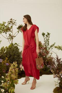Hoss Intropia Presili. Vestido midi en tejido satinado Rojo