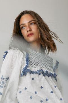 Hoss Intropia Ransol. Blusa algodón bordada Azul