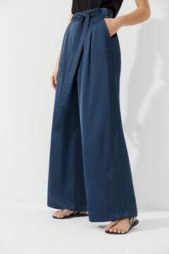 Hoss Intropia Scala. Pantalón ancho fluido lazada Azul