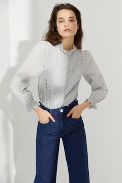 Hoss Intropia Rotes. Camisa romántica de algodón Azul