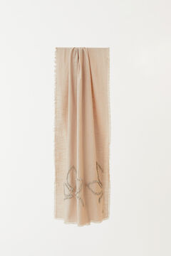 Hoss Intropia Floren. Fular liso con bordado artesanal Gris