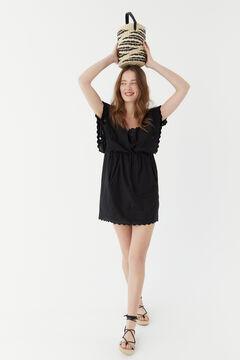 Hoss Intropia Portals. Vestido corto algodón bordados Negro