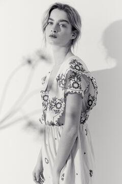 Hoss Intropia Portals. Vestido corto algodón bordados Beige