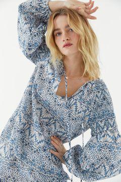 Hoss Intropia Trenc. Blusa de algodón orgánico estampada Azul